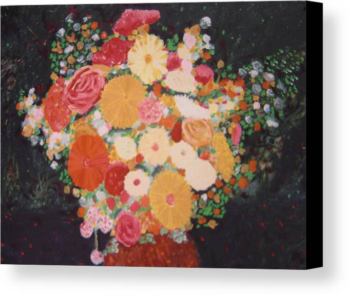 Canvas Print featuring the painting Pot With Flowers by Biagio Civale