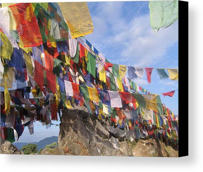 Prayer Flags Canvas Print featuring the photograph Prayer Flags In Happy Valley by Art Nomad Sandra Hansen