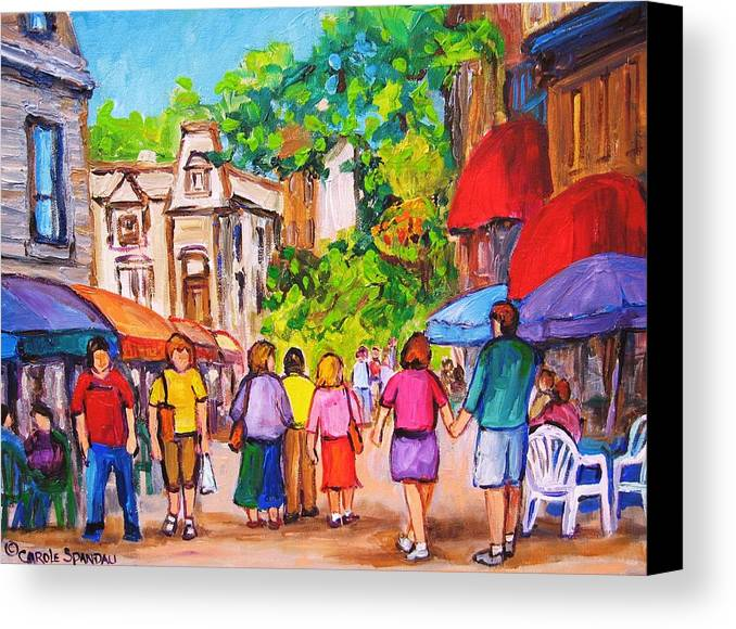 Rue Prince Arthur Montreal Street Scenes Canvas Print featuring the painting Prince Arthur Street Montreal by Carole Spandau