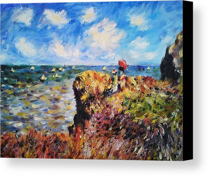 Claude Canvas Print featuring the painting Promenade At Pourville by Peter Kupcik