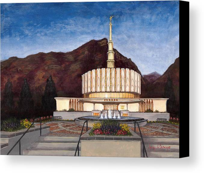 Temple Canvas Print featuring the painting Provo Temple by Jeff Brimley
