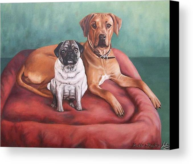 Dogs Canvas Print featuring the painting Pug And Rhodesian Ridgeback by Nicole Zeug