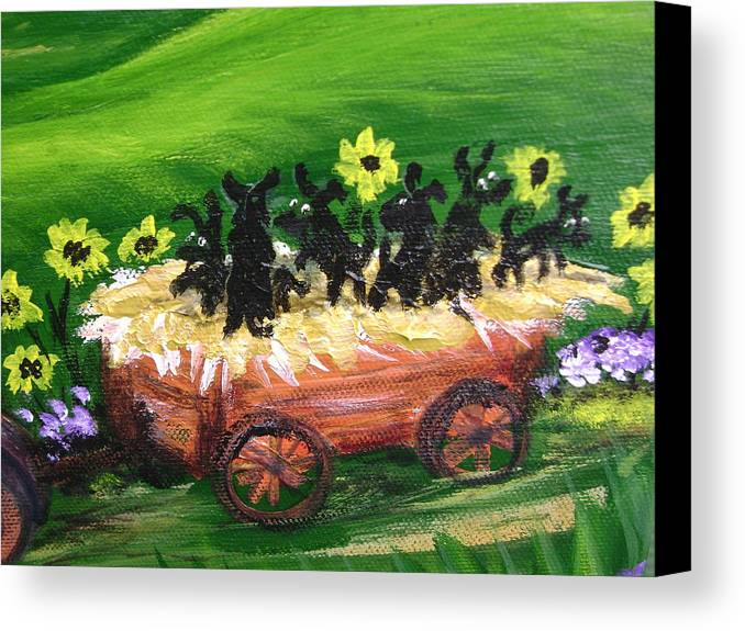 Pups Canvas Print featuring the painting Pups First Hayride Upclose by Laura Johnson
