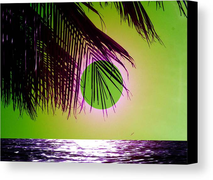 Beach Canvas Print featuring the digital art Purple Beach by Juana Maria Garcia-Domenech