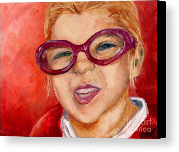 Portrait Canvas Print featuring the painting Purple Glasses by Linda Vespasian