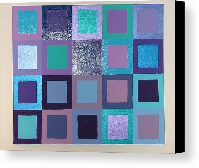 Squares Canvas Print featuring the painting Purple Haze by Gay Dallek