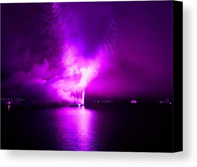 Fireworks Canvas Print featuring the photograph Purple Haze by Kendall Eutemey