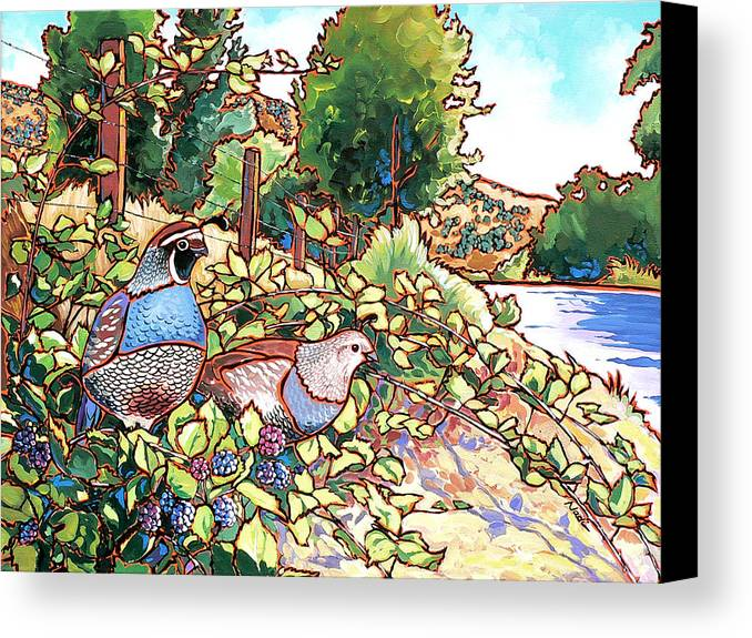 Quail Canvas Print featuring the painting Quails And Blackberries by Nadi Spencer