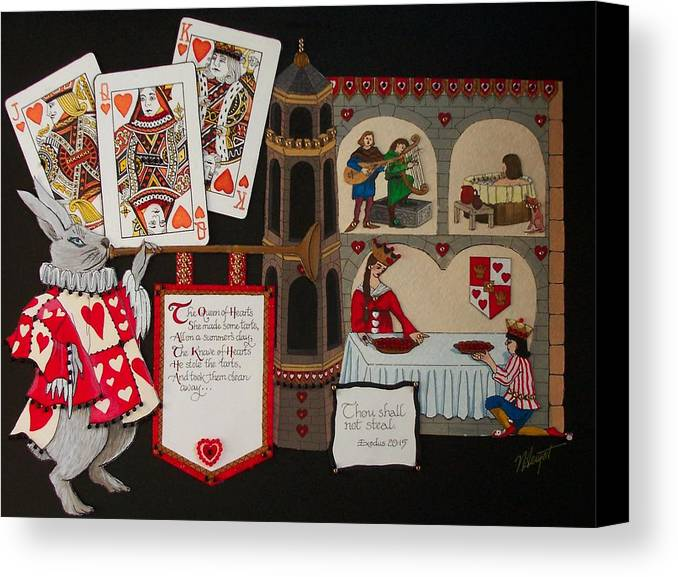 Nursery Rhyme Canvas Print featuring the painting Queen Of Hearts by Victoria Heryet