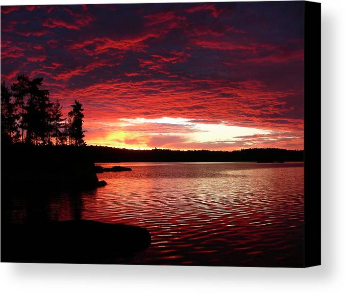 Canada Canvas Print featuring the photograph Quetico Sun Rise by Peter McIntosh