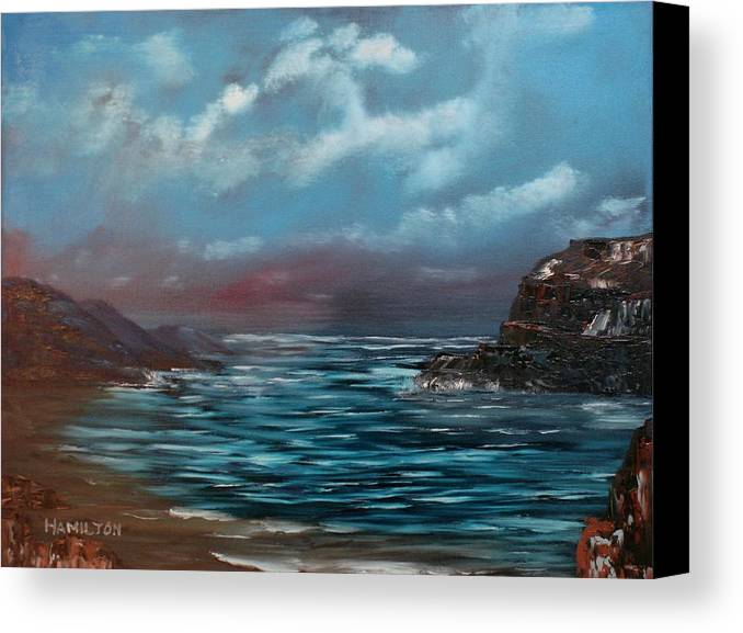 Oil Canvas Print featuring the painting Quiet Bay by Larry Hamilton