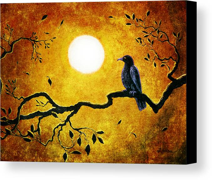 Crow Canvas Print featuring the digital art Raven In Golden Splendor by Laura Iverson