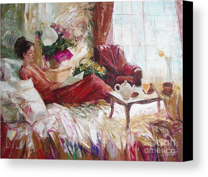 Art Canvas Print featuring the painting Recent News by Sergey Ignatenko