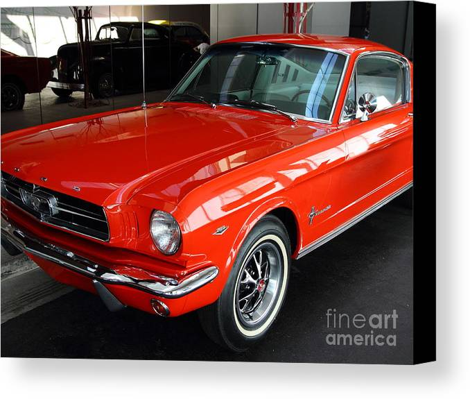 Transportation Canvas Print featuring the photograph Red 1965 Ford Mustang . Front Angle by Wingsdomain Art and Photography