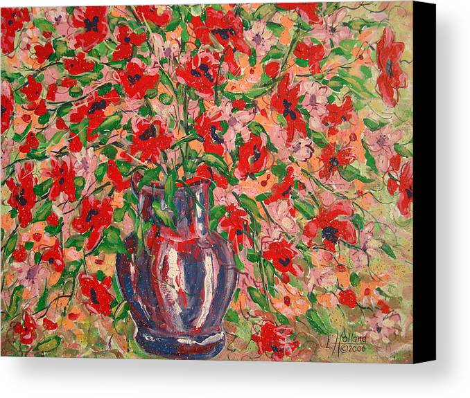 Flowers Canvas Print featuring the painting Red And Pink Poppies. by Leonard Holland
