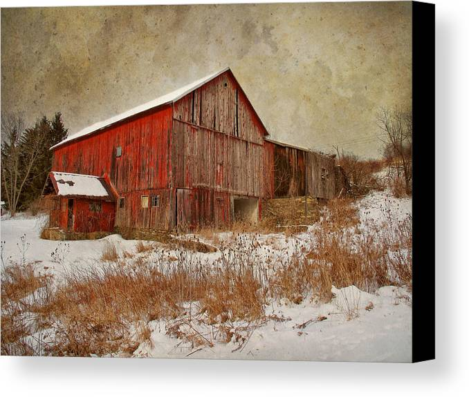 Barn Canvas Print featuring the photograph Red Barn White Snow by Larry Marshall