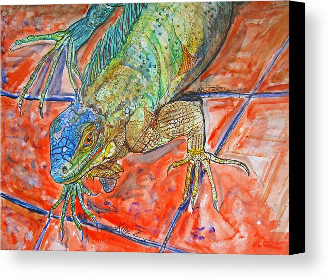 Iguana Canvas Print featuring the painting Red Eyed Iguana by Kelly   ZumBerge