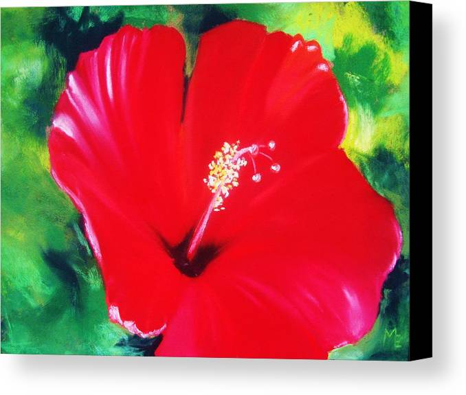 Bright Flower Canvas Print featuring the painting Red Hibiscus by Melinda Etzold