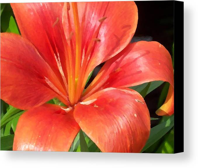Lilly Canvas Print featuring the digital art Red Lilly by Ellen B Pate