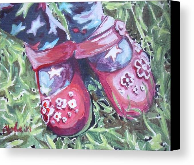 Red Shoes Canvas Print featuring the painting Red Shoes by Aleksandra Buha