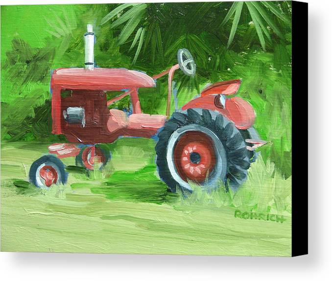 Tractor Farm Equipment Canvas Print featuring the painting Retired Farmall by Robert Rohrich