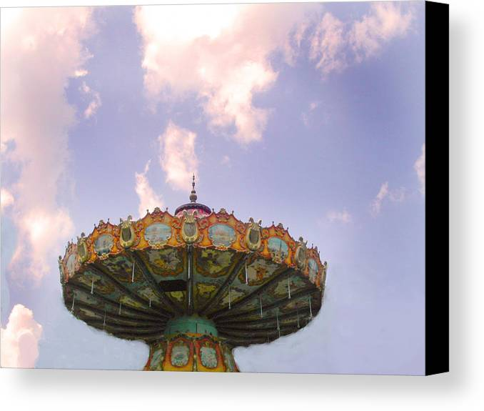 Carousel Canvas Print featuring the photograph Retired Ride In The Sky Or Ufo by Anne Cameron Cutri