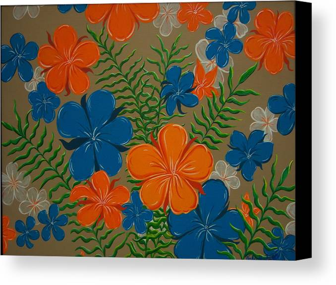 Acrylic Painting Canvas Print featuring the painting Retro Flowers by Vicki Berchtold
