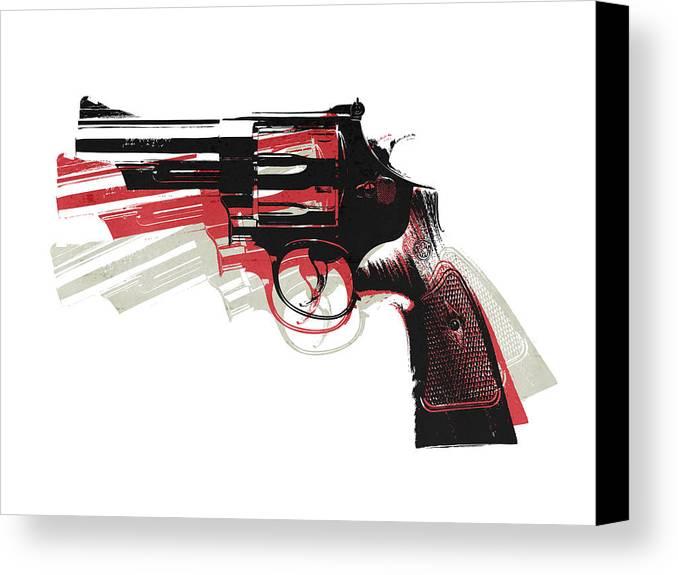 Revolver Canvas Print featuring the digital art Revolver On White by Michael Tompsett