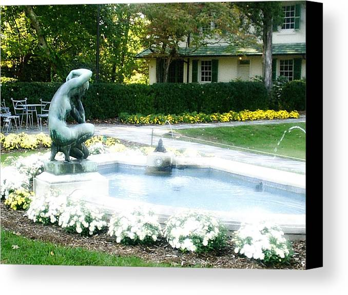 Fountain Canvas Print featuring the photograph Reynolda Fountain by Scarlett Royal