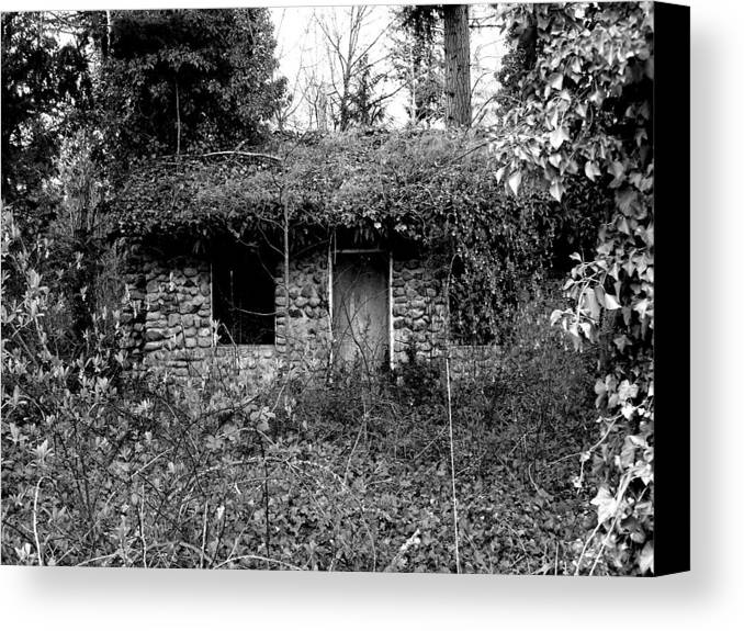 Digital Photography Canvas Print featuring the photograph Rock Cabin Black And White by Laurie Kidd