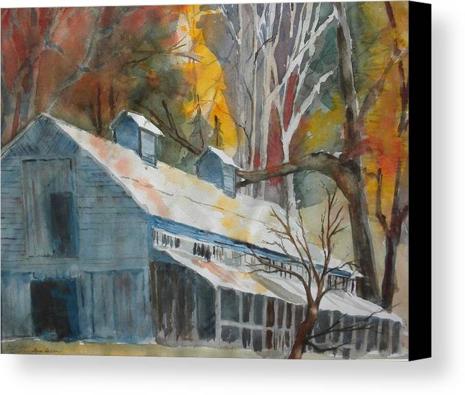Landscape Canvas Print featuring the painting Rockbrook Camp Barn by Kris Dixon