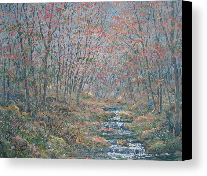 Painting Canvas Print featuring the painting Rocky Forest. by Leonard Holland