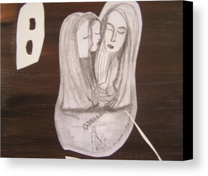 Figures Canvas Print featuring the drawing Sacra Conversation by Geraldine Liquidano