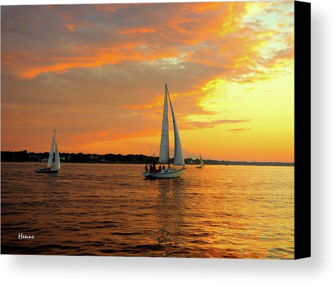 Sailboat Canvas Print featuring the photograph Sailboat Parade by Robert Henne