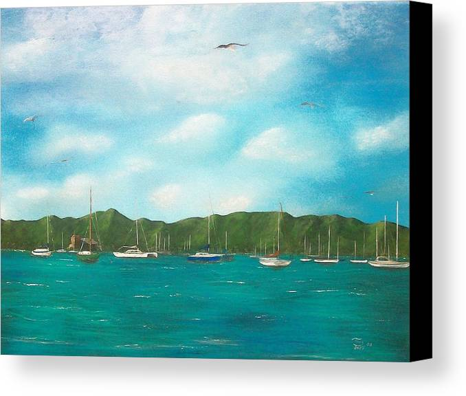 Seascapes Canvas Print featuring the painting Sailboats In Harbor by Tony Rodriguez