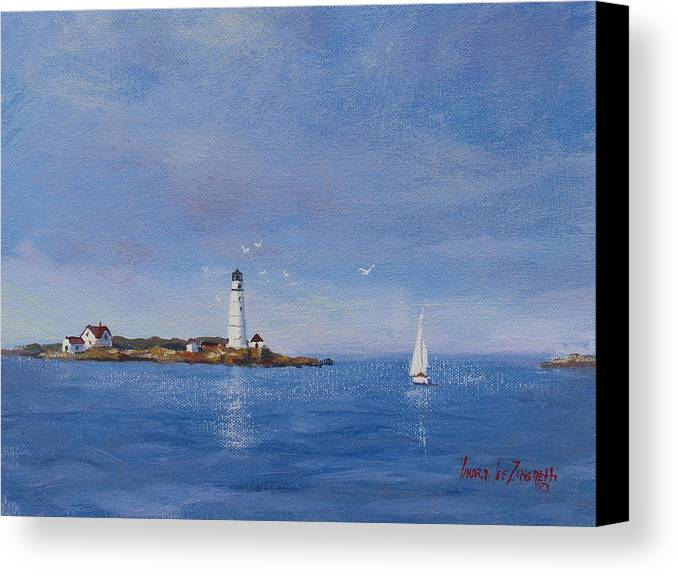 Seascape Canvas Print featuring the painting Sailing To Boston Light by Laura Lee Zanghetti