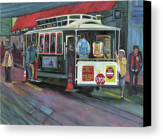 Cable Car In San Francisco Canvas Print featuring the painting San Francisco Cable Car by Marcelle Schvimmer