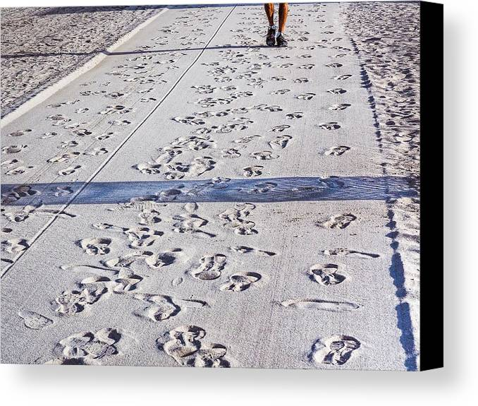 Walking Canvas Print featuring the photograph Sand Dance by Robin Zygelman