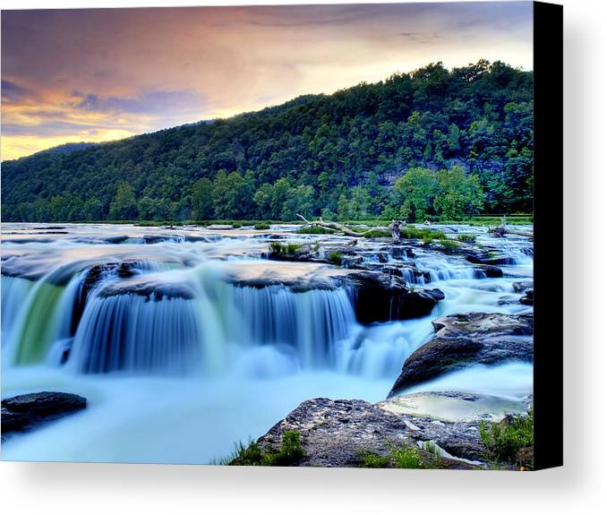 Waterfall Canvas Print featuring the photograph Sandstone Falls At Sunset In West Virginia  Hdr by Brendan Reals