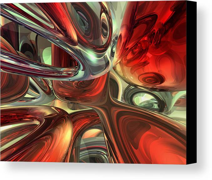 3d Canvas Print featuring the digital art Sanguine Abstract by Alexander Butler