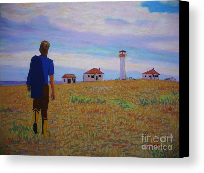 Lighthouses Canvas Print featuring the pastel Sean's Visit To Cross Island Lighthouse by Rae Smith