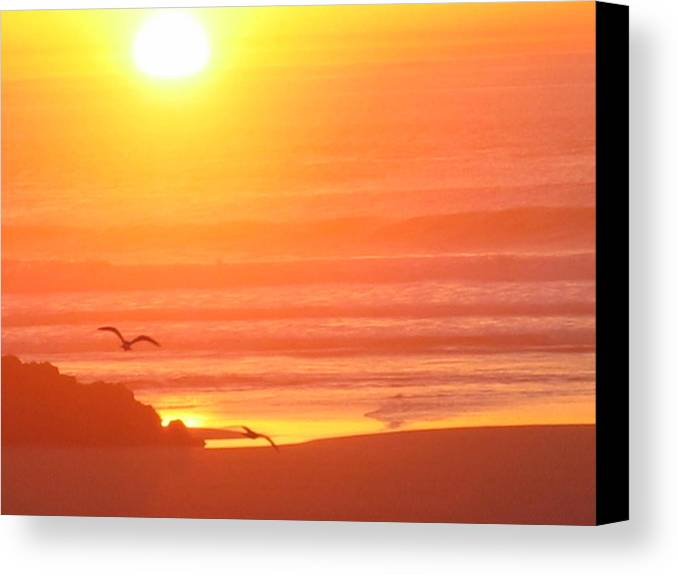 Canvas Print featuring the digital art Seaside Sunset by Barb Morton