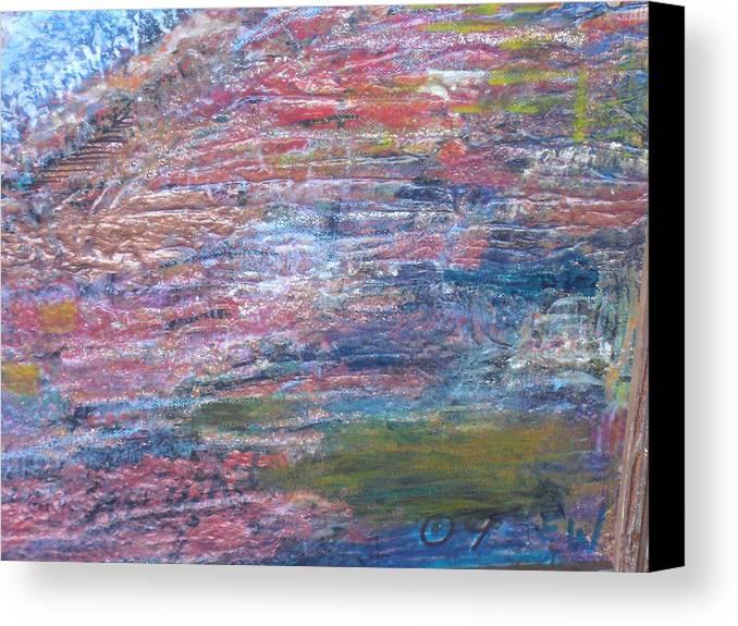 Testure Canvas Print featuring the mixed media Sedona Mesa Strata by Anne-Elizabeth Whiteway