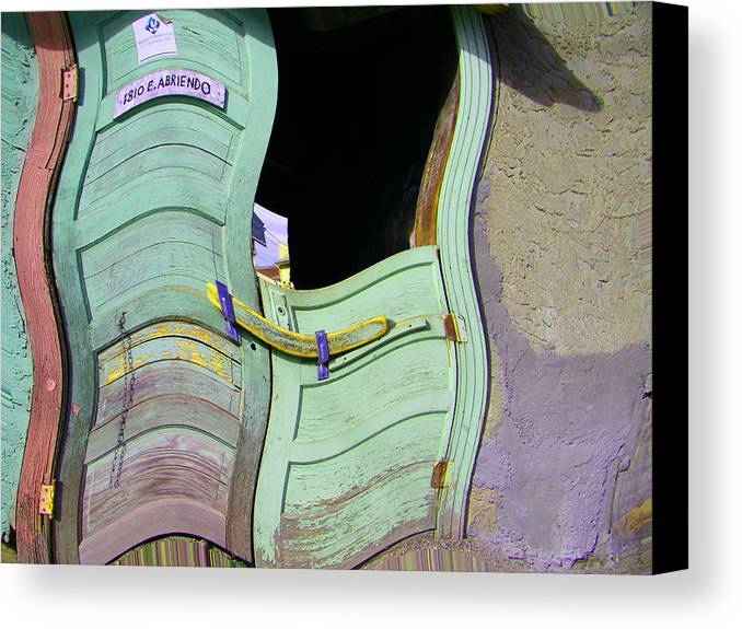 Abstract Canvas Print featuring the digital art See-through Green And Red Doors by Lenore Senior