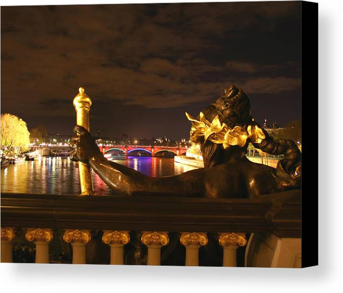 Pont Alexandre Iii Canvas Print featuring the photograph Seine By Night by Hans Jankowski