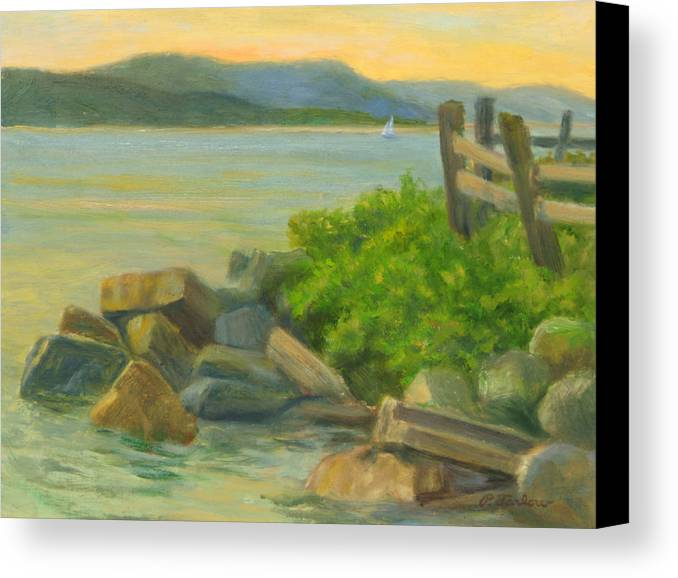 Landscape Canvas Print featuring the painting Serenity On The Hudson by Phyllis Tarlow