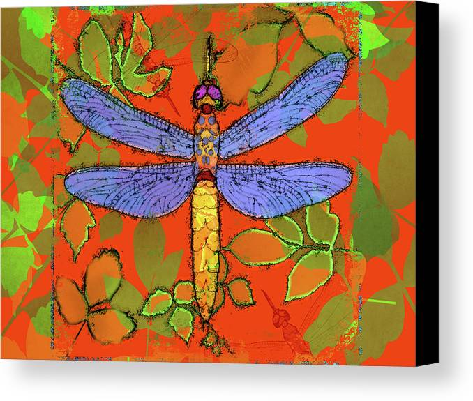 Dragonfly Canvas Print featuring the digital art Shining Dragonfly by Mary Ogle