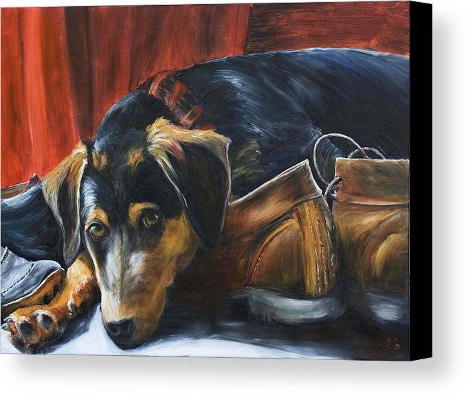 Dog Canvas Print featuring the painting Shoe Dog by Nik Helbig