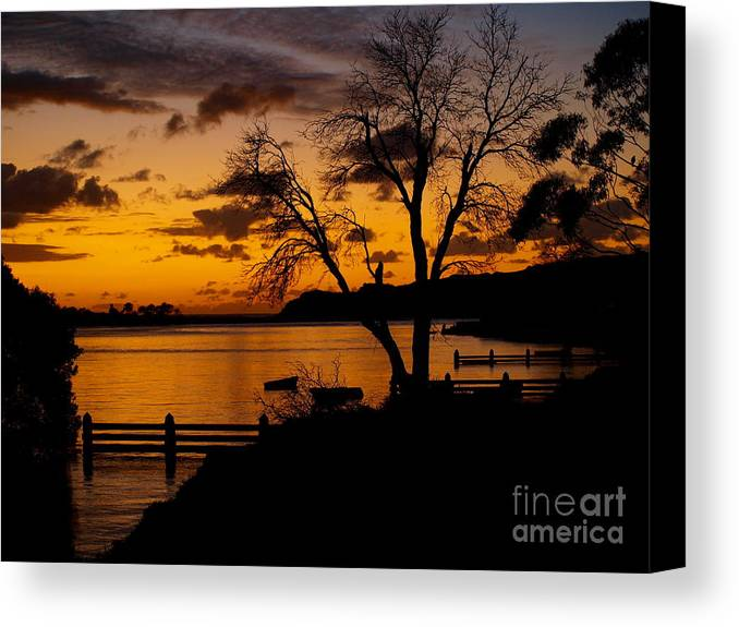 Sunrise Canvas Print featuring the photograph Silhouettes At Sunrise by Trena Mara