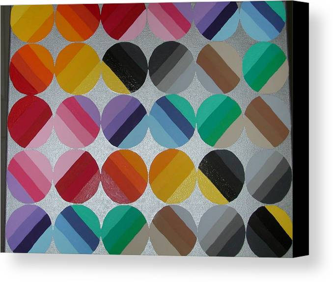 Circles Of Yellow Canvas Print featuring the painting Silver Lining by Gay Dallek
